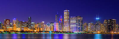 Chicago Skyline With Cubs World Series Lights Night, Lake Michigan, Chicago, Cook County, Illinois Art Print by Panoramic Images