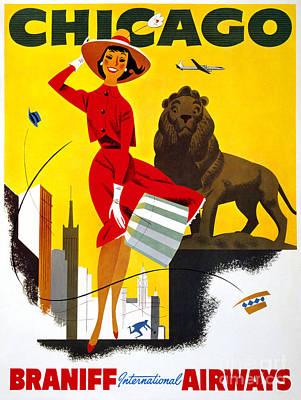 Chicago Vintage Travel Poster Restored Art Print by Carsten Reisinger