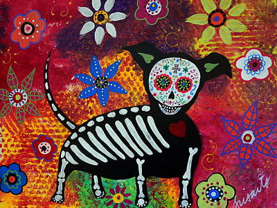 Chihuahua Day Of The Dead Print by Pristine Cartera Turkus