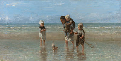 Jozef Israels Painting - Children Of The Sea by Jozef Israels