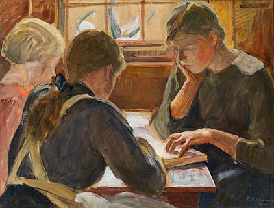 Painting - Children Reading by Pekka Halonen