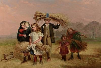 Gleaning Painting - Children Returning Home From Gleaning by Hugh Collins