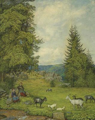 Painting - Children With Goat Herd by Treasury Classics Art