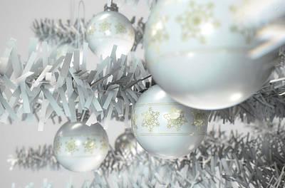 Trimming Digital Art - Christmas Decor White by Allan Swart