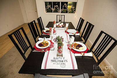 Banquet Photograph - Christmas Dinner Table by Sv
