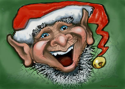 Elf Greeting Card - Christmas Elf by Kevin Middleton