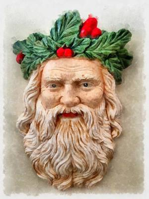Wreath Painting - Christmas Santa Claus by Esoterica Art Agency