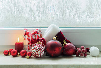 Christmas Windowsill Art Print