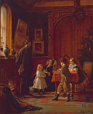 Eastman Johnson Painting - Christmas-time. The Blodgett Family by Eastman Johnson