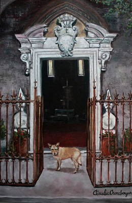 Painting - Church Dog by Claudia Croneberger