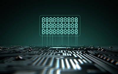 Macro Digital Art - Circuit Board Projecting Text by Allan Swart