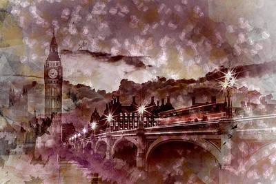 London Photograph - City-art London Westminster Bridge At Sunset by Melanie Viola