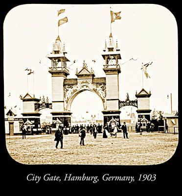 Photograph - City Gate, Millenthor, Hamburg, Germany, 1903 by A Gurmankin