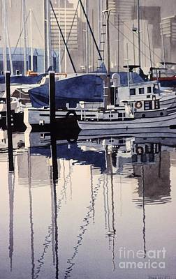 Painting - City Mooring by Frank Townsley
