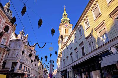 Photograph - City Of Graz Hauptplatz Main Square Advent View by Brch Photography