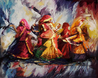 Indian Tribal Women Painting - Classical Dance Art 16 by Maryam Mughal