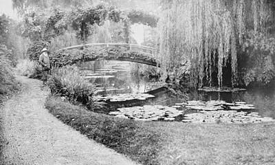 White Water Lilies Photograph - Claude Monet In His Garden At Giverny by French School