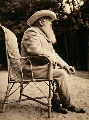 Claude Monet In His Garden Art Print by French School