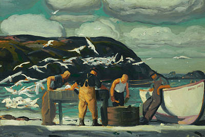 School Of Fish Painting - Cleaning Fish by George Bellows