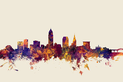 Landscape Digital Art - Cleveland Ohio Skyline by Michael Tompsett