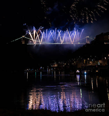 Photograph - Clifton Suspension Bridge Fireworks by Colin Rayner