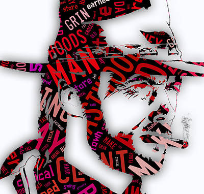 Clint Eastwood In Quotes Art Print