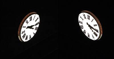 Photograph - 2 Clocks At Dark by Cora Wandel