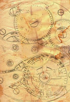Clockwork Mechanism On Grunge Paper Art Print by Michal Boubin