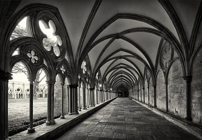 Photograph - Cloisters Of Salisbury Cathedral England by Shirley Mitchell