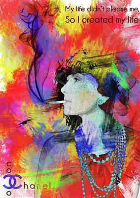 Fashion Painting - Coco Chanel Motivational Independent Quotes 3 by Diana Van