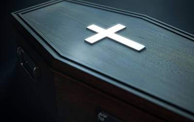 Spooky Digital Art - Coffin And Crucifix by Allan Swart