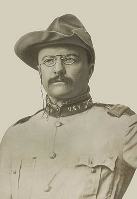 Theodore Roosevelt Drawing - Colonel Theodore Roosevelt by War Is Hell Store
