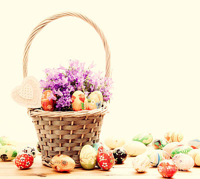 Springtime Photograph - Colorful Hand Painted Easter Eggs In Basket And On Wood by Michal Bednarek