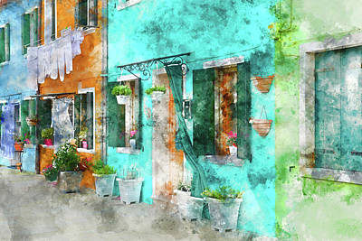 Photograph - colorful house in Burano island Venice Italy by Brandon Bourdages