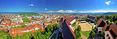 Photograph - Colorful Ljubljana Aerial Panoramic View by Brch Photography