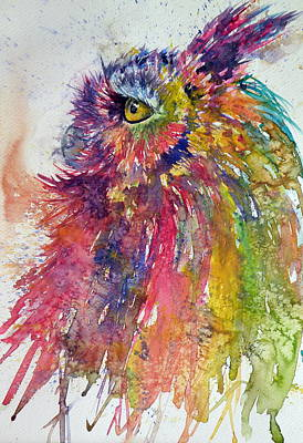 Great-horned Owls Painting - Colorful Owl by Kovacs Anna Brigitta