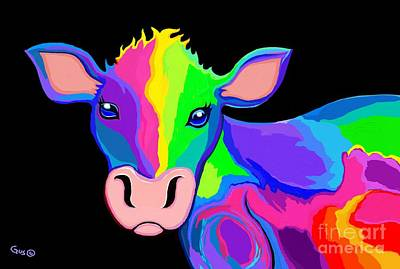 Digital Art - Colorful Rainbow Cow by Nick Gustafson