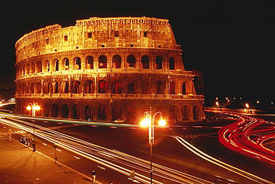 Photograph - Colosseum At Night In Rome by Carl Purcell