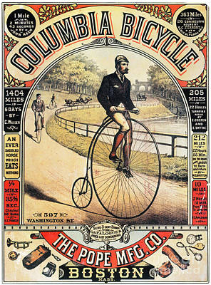 Penny Farthing Photograph - Columbia Bicycles Poster by Granger