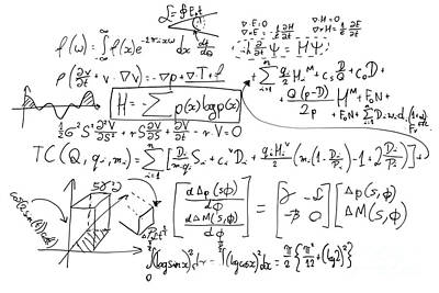 Knowledge Photograph - Complex Math Formulas On Whiteboard. Mathematics And Science With Economics by Michal Bednarek