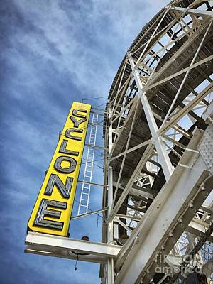 Cyclone Rollercoaster Photograph - Coney Island, Usa by HD Connelly