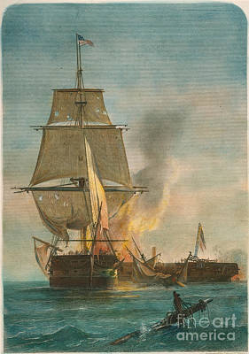 Uss Constitution Photograph - Constitution And Guerriere by Granger