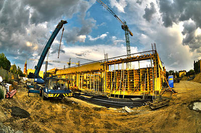 Crane Digital Art - Construction Site by Jaroslaw Grudzinski