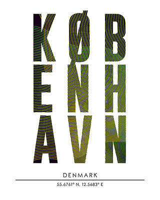 Mixed Media - Copenhagen, Denmark - City Name Typography - Minimalist City Posters by Studio Grafiikka