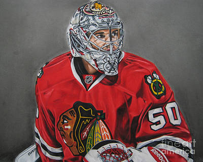 Chicago Blackhawks Drawing - Corey Crawford by Brian Schuster