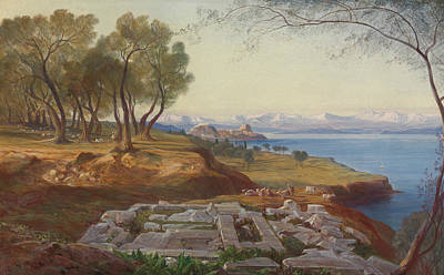 Italian Landscapes Painting - Corfu From Ascension by Edward Lear