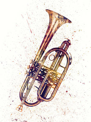 Musical Instrument Digital Art - Cornet Abstract Watercolor by Michael Tompsett