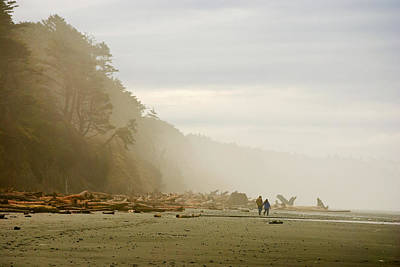 Washington Driftwood Beach Fog Wall Art - Photograph - Couple On A Foggy Beach by Wilbur Young