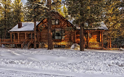 Log Cabins Photograph - Cozy In Winter by Mountain Dreams
