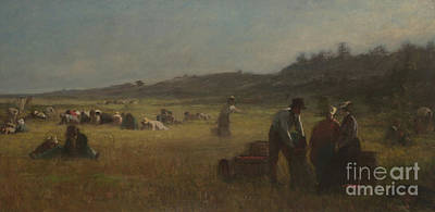 Cranberry Pickers Art Print by Eastman Johnson